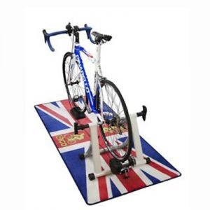 Indoor bicycle storage mat trainer floor mat to catch grime and dirt