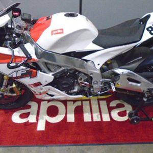 Vehicle specific floor mats custom printed motorcycle garage logo mat