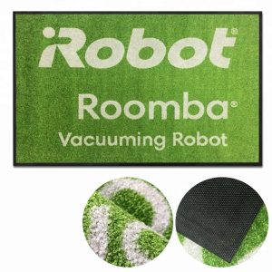 Roomba robot vacuum cleaner demonstration logo floor mat for retail store